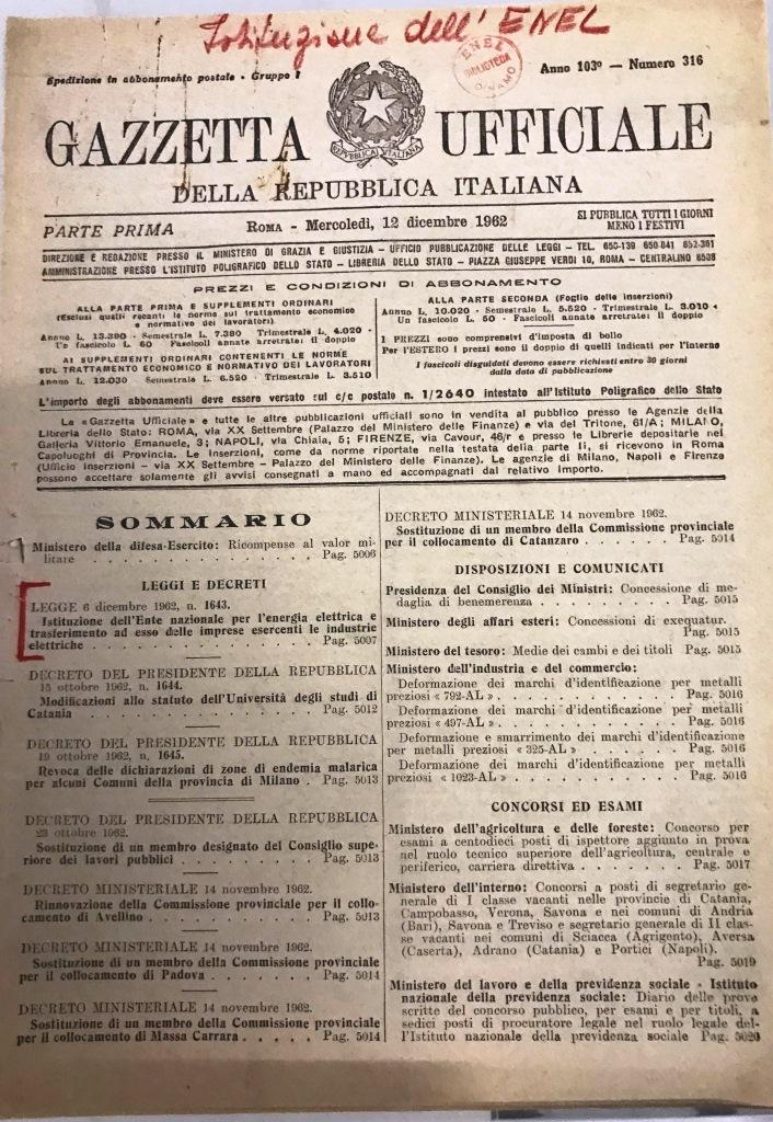 LEGGE 6 dicembre 1962, n. 1643 - Gazzetta Ufficiale